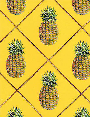 Pineapple Squared Textile Pattern Art Print by John Keaton