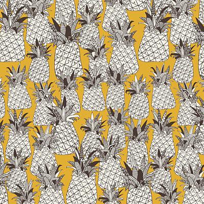Pineapple Drawing - Pineapple Sunshine Yellow by Sharon Turner