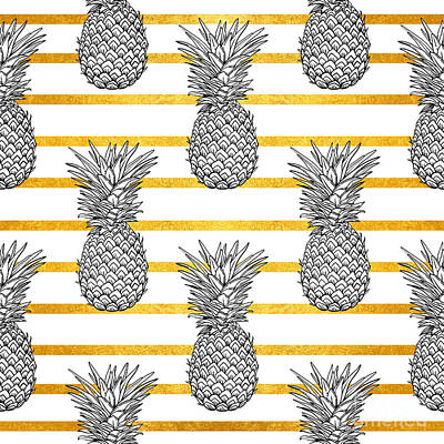 Food Digital Art - Pineapple Tropical Vector Seamless by Vavavka