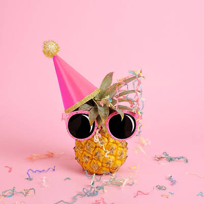 Color Image Photograph - Pineapple Wearing A Party Hat And by Juj Winn