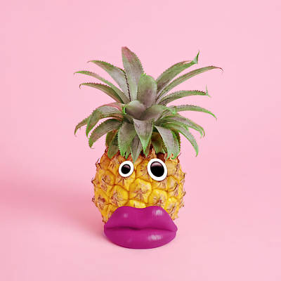 Photograph - Pineapple With Face Made Of Fake Lips by Juj Winn
