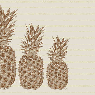 Country Kitchen Painting - Pineapples - Left Three by Ramona Murdock