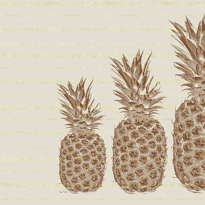 Country Kitchen Painting - Pineapples - Right Three by Ramona Murdock