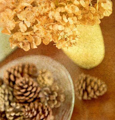 Pinecones And Hydrangae Art Print by Rebecca Cozart