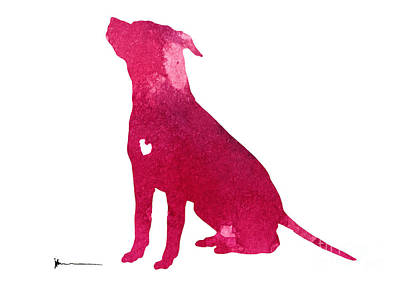 Dog Abstracts Mixed Media - Pink Abstract Dog Large Poster by Joanna Szmerdt