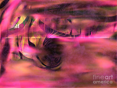 Art Print featuring the painting Pink Abstract Nature by Yul Olaivar