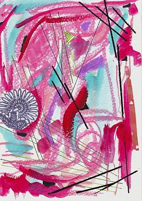 Pink And Black Lines Art Print