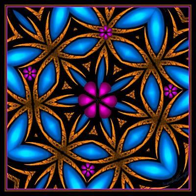 Digital Art - Pink And Blue Baroque Flower by Marcela Bennett