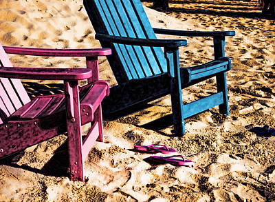 Digital Art - Pink And Blue Chair by Michael Thomas