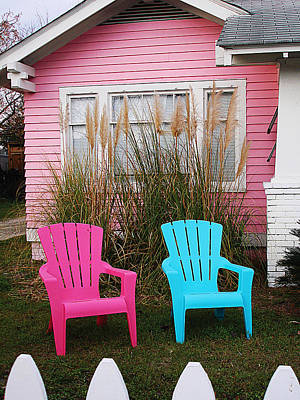 Pink And Blue Chairs By Jan Marvin Art Print