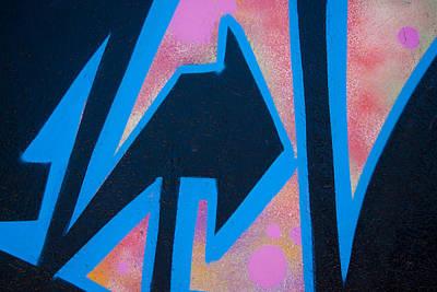 Urban Art Photograph - Pink And Blue Graffiti Arrow by Carol Leigh