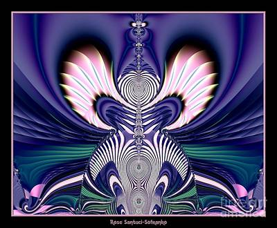 Pink And Blue Guardian Angel Fractal 99 Art Print by Rose Santuci-Sofranko