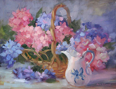Pitcher Painting - Pink And Blue Hydrangeas by Karin  Leonard