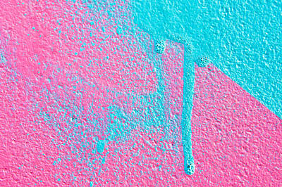 Pink And Blue Paint Art Print by Tom Gowanlock