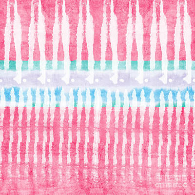 Tribal Wall Art - Painting - Pink And Blue Tie Dye by Linda Woods