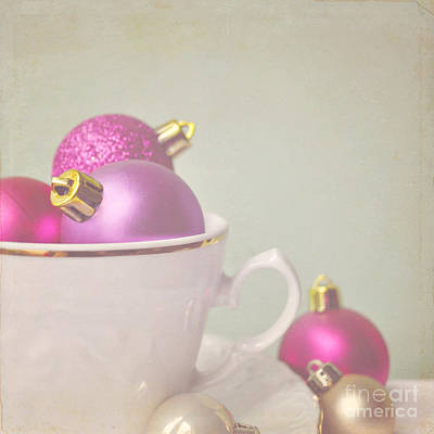 Pink And Gold Christmas Baubles In China Cup. Art Print by Lyn Randle