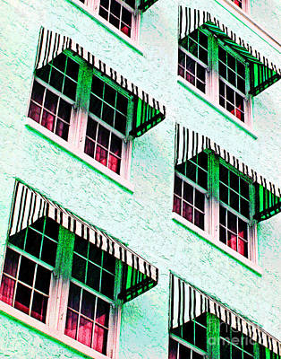 Photograph - Pink And Green Awnings by Larry Oskin