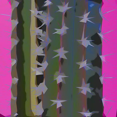 Pink And Green Cactus Collage Art Print