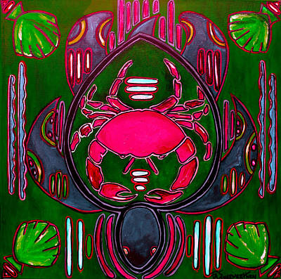 Painting - Pink And Green Crab Turtle Mola by Patti Schermerhorn
