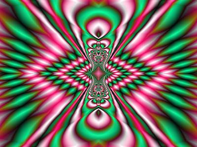 Digital Art - Pink And Green Fractal Kaleidoscope  by Gina Lee Manley