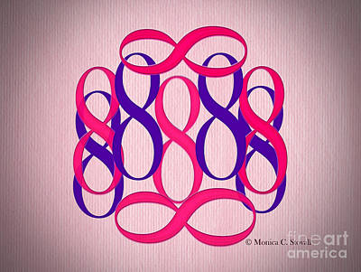 Digital Art - Pink And Purple 8's by Monica C Stovall