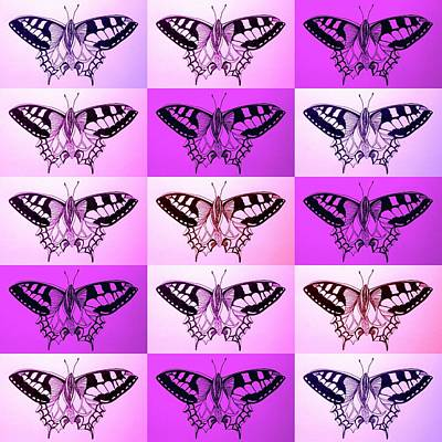 Andy Warhol Drawing - Pink And Purple Butterflies by Cathy Jacobs