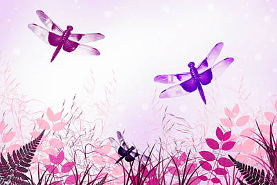 Pink And Purple Dragonfly Art Art Print by Christina Rollo