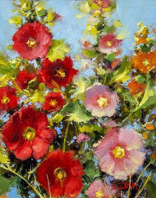 Pink And Red In The Flower Bed Art Print by Bill Inman