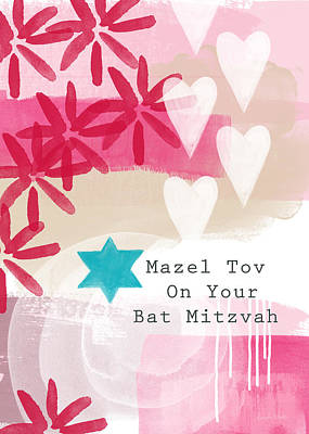 Bats Painting - Pink And White Bat Mitzvah- Greeting Card by Linda Woods