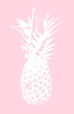 Pink And White Pineapple Print by Linda Woods