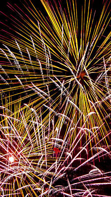 Photograph - Pink And Yellow Fireworks by Weston Westmoreland