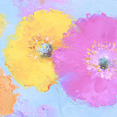 Painting - Pink And Yellow Poppies by Jan Matson