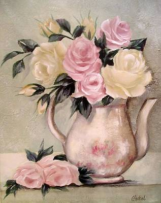 Pink And Yellow Roses In Teapot Painting Art Print