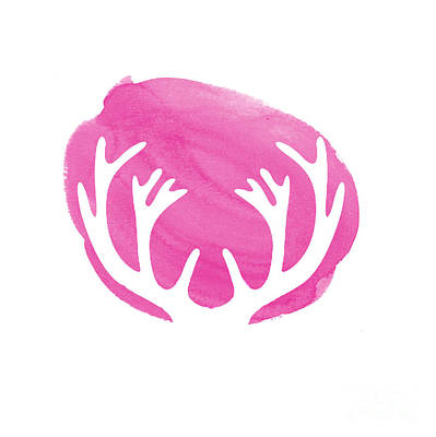 Deer Digital Art - Pink Antlers by Marion De Lauzun