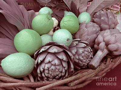 Photograph - Pink Artichokes With Green Lemons And Oranges by James B Toy