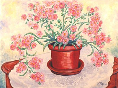 Valentines Day Painting - Pink Asters by Linda Mears