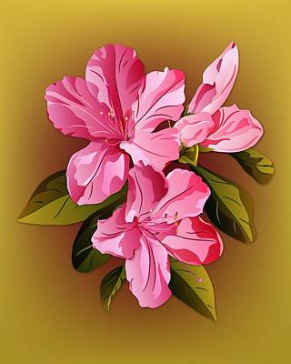 Digital Art - Pink Azalea Blossoms by MM Anderson