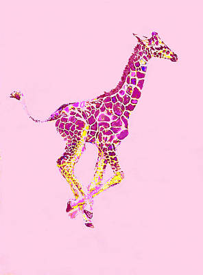 Digital Art - Pink Baby Giraffe by Jane Schnetlage