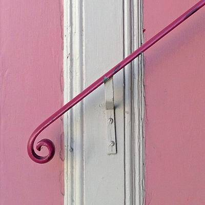 White Photograph - Pink Bannister by Julie Gebhardt