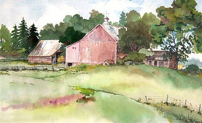 Art Print featuring the painting Pink Barn by Susan Crossman Buscho
