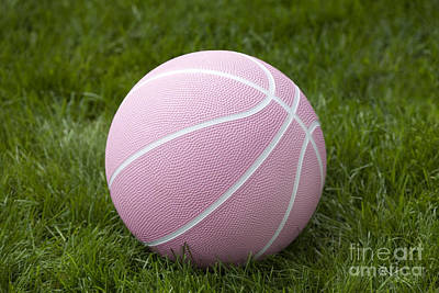 Blue Hues - Pink Basketball by Iris Richardson