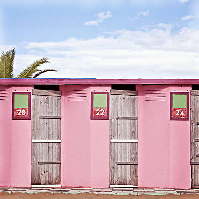 Photograph - Pink Beach Changing Rooms Rimini by Angela Bonilla