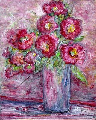 Pink Flower Painting - Pink Beauties In A Blue Crystal Vase by Eloise Schneider