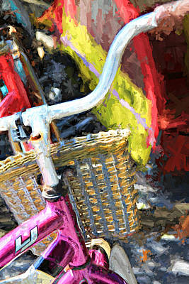 Photograph - Pink Bicycle With A Basket by Lynn Jordan