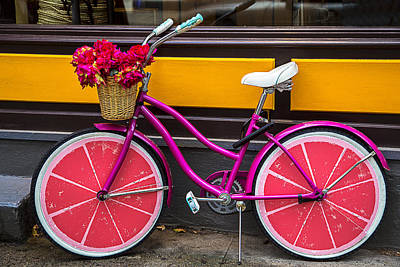 Handlebar Photograph - Pink Bike by Garry Gay