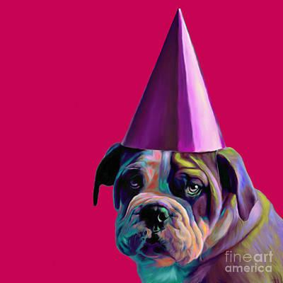 Pink Birthday Pup Print by Jennifer Gibson