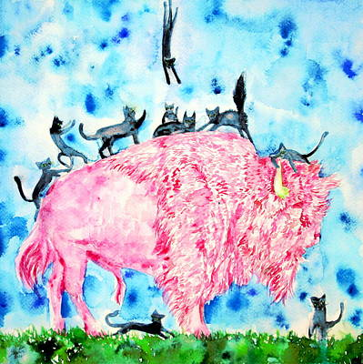 Painting - Pink Bison And Black Cats by Fabrizio Cassetta