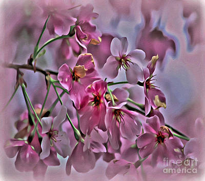 Photograph - Pink Blossoms Paint And Texture - Duvet Cover Sized by Scott Hervieux