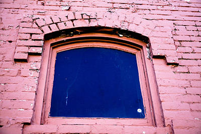 Photograph - Pink Brick Blue Window by Audreen Gieger