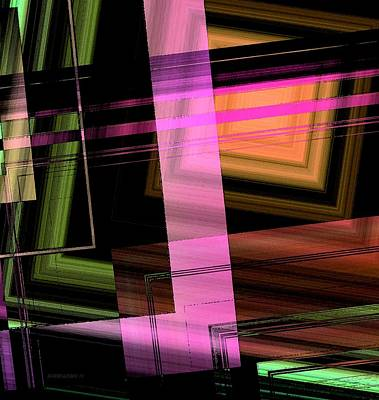 Style Digital Art - Pink Brown And Green Abstract Geometric by Mario Perez
